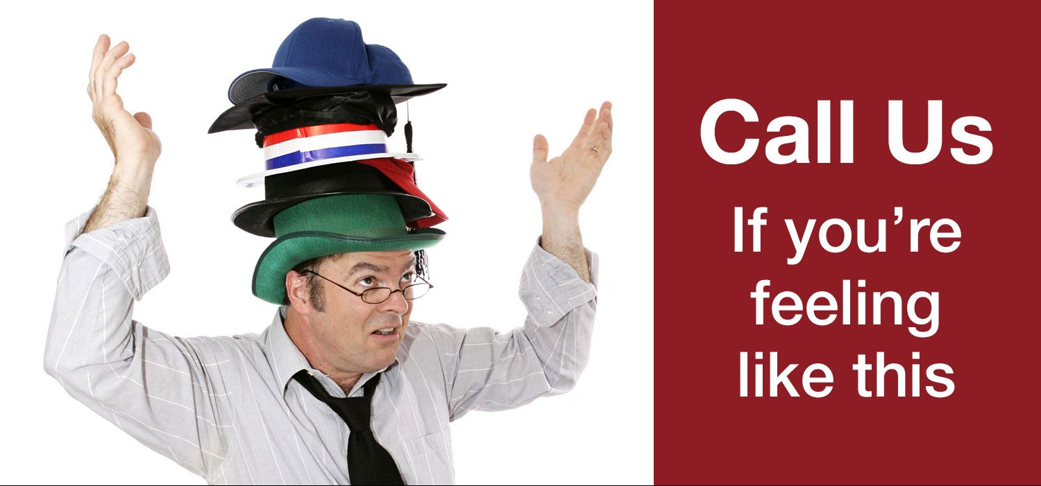 Man with too many hats represents how Digital Pizza CT can help with sales and marketing.