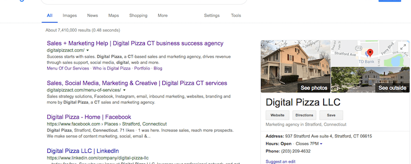 Google my Business and Google search for Digital Pizza CT