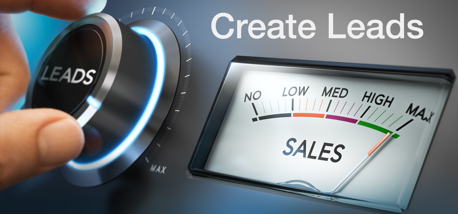 Leads dial with sales meter both at maximum to represent Digital Pizza CT create leads effect.
