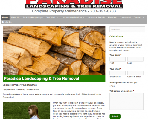screen shot of Paradise Landscaping and Tree Removal website, content created by Digital Pizza CT